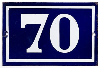 Old blue French house number 70 door gate plate plaque enamel metal sign steel