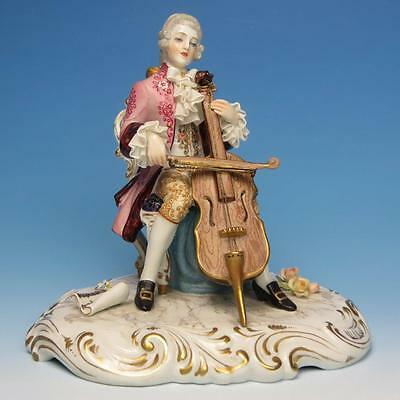 Italy - Porcelain Lace Figures - Large Man Playing Cello Musical Instrument