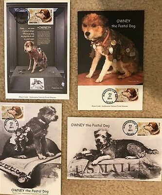 OWNEY the Postal Dog:  Set/4 Different 4x6 Official First Day Cover Cards (2011)