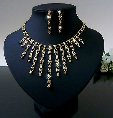 Collier Kette Ohrringe Set Gold Schmuck Braut Hochzeit Brautjungfer Party S1826