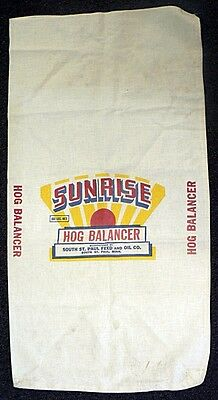 Vintage 100 Lbs Sunrise Hog Balancer Cloth Sack From Sout St. Paul Feed & Oil Co