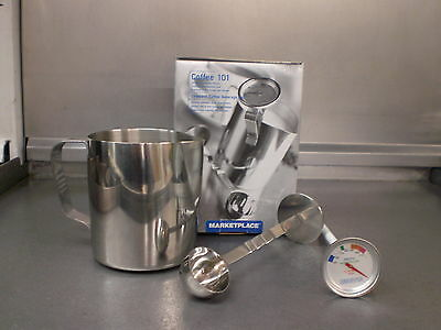 20 Ounce Oz Stainless Steel Coffee Fronting Pitcher Thermometer Jug Mug Pot Cup