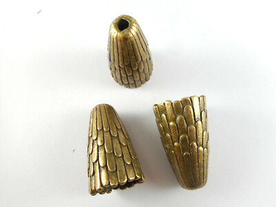 4 Antique Brass Plated Large Decorative Cone Beadcaps Findings 65960