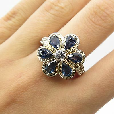 925 Sterling Silver Real Blue And White Topaz Gemstone Flower Ring Size 8