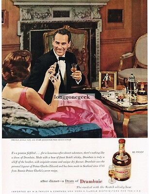 1959 DRAMBUIE Liquer Man Gives Woman Diamond Necklace VTG Print Ad
