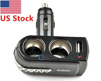 Dual 2 Socket Splitter Car Cigarette Lighter 12V USB Port Charger Power Adapter
