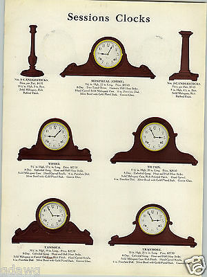 1923 PAPER AD 4 PG Sessions Mantle Clock Clocks Candlesticks Chiming Tambour