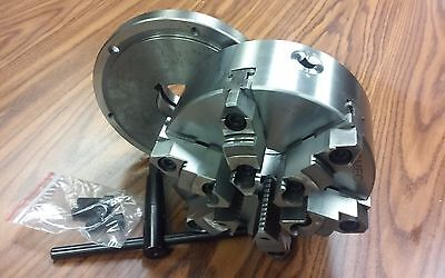 """8"""" 6-JAW SELF-CENTERING  LATHE CHUCK w. top&bottom jaws, L00 adapter back plate"""