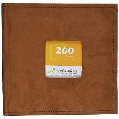 """Golden State Art Photo Album, Holds 200 4""""x6"""" pictures, 2 per page, Suede Cover,"""