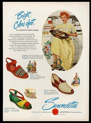 1949 Lucille Ball photo in color Summerettes women's shoes vintage print ad