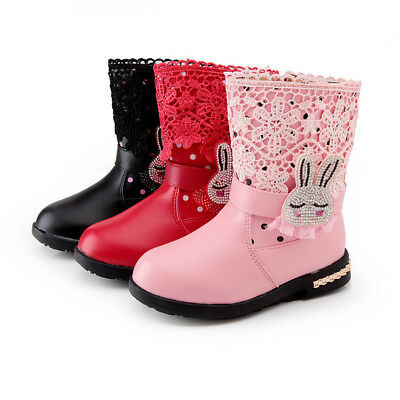 Winter Girls Kids Leather Waterproof Lace Rabbit Embroider Shoes Chelsea Boots