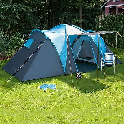 skandika Hammerfest 4 Person/Man Family Tent Camping Dome Blue Canopy New