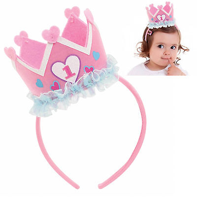 Pink 1st Birthday Girl Children's Party Accessory Hat Princess Crown Headband
