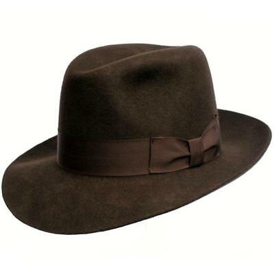 Indiana Style Wool Felt Fedora Hat - Mens Indiana Jones Inspired Lined Hat