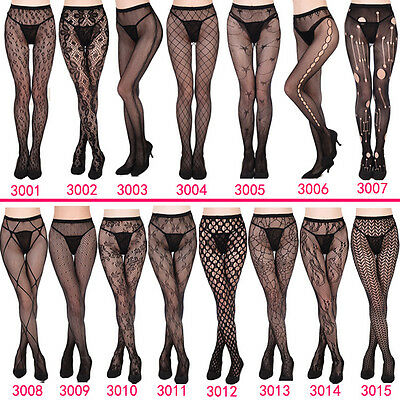 Women's Black Lace Fishnet Hollow Patterned Pantyhose Tights Stocking Lingerie
