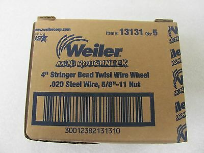 "Weiler 13131 4"" Stringer Bead Wire Wheel, .020, 5/8""-11 UNC A.H. (STBA-432)"