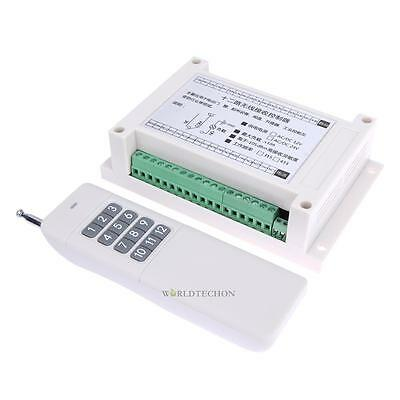 DC 12V 12 Channel Relay RF Switch Remote Control Transmitter Receiver 315/433MHz