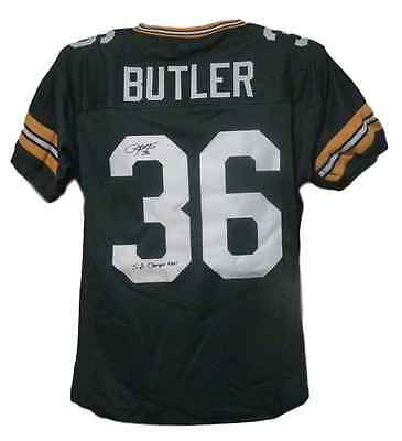 "Leroy Butler Autographed Green Bay Packers Size Xl Green Jersey ""sb Champ"" 19187"