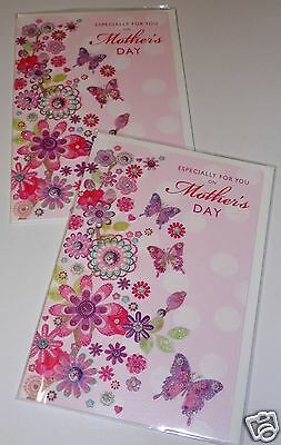 "MOTHER'S DAY CARDS x12, JUST 29p, CODE 75 SIZE, EMBOSSED, WRAPPED, 6""x9"" ( B425"