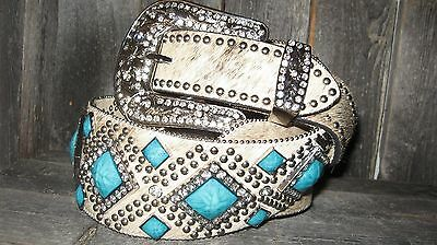 Western Leather Ladies Cowhide Turquoise Conchos Cowgirl Rodeo Belt 3 In Wide