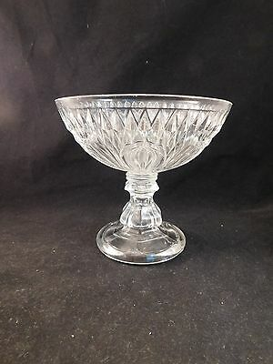 "Eapg Diamond With Leaf Pattern Open 6.5"" Dia Flint Glass Compote - Circa 1850"