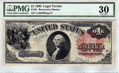Fr.31 $1 1880 LEGAL TENDER NOTE PMG VERY FINE 30 LARGE SPIKED SEAL SCARCE!!!!