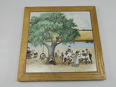 Vintage 1982 Lowell Herrero Hanging Wall Decor Tile Trivet Coaster Family Dinner
