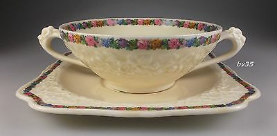 CROWN DUCAL CHARM gainsborough CREAM SOUP BOWL WITH UNDERPLATE - SET OF 3 - 6 PC