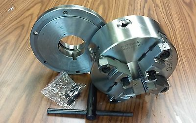 """8"""" 4-Jaw Self-Centering  Lathe Chuck top&bottom jaws w. L0 adapter plate-new"""