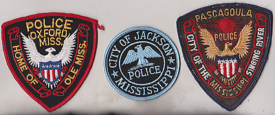 Oxford, Pasagoula & City of Jackson MS Police patches
