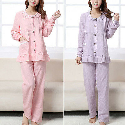 Maternity Pajamas Pregnant Women Feeding Sleepwear Button Loungewear Top + Pants