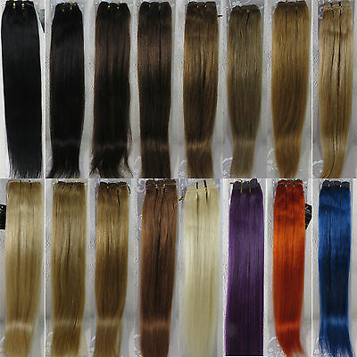 "More Colors AAA 15""-36"" Remy Human Hair Weft Extensions Straight Width 59"" 100g"