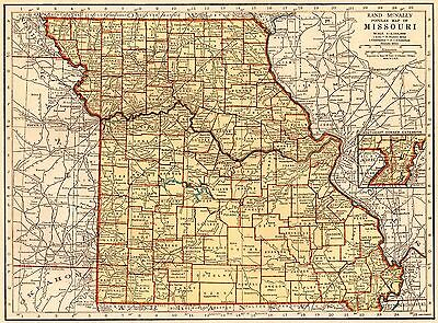 1935 Vintage MISSOURI Map of Missouri State Map Gallery Wall Art 3642