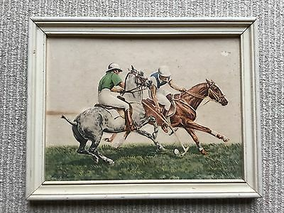 Vintage Louis Claude Framed Dimensional Raised Picture - Polo Horses