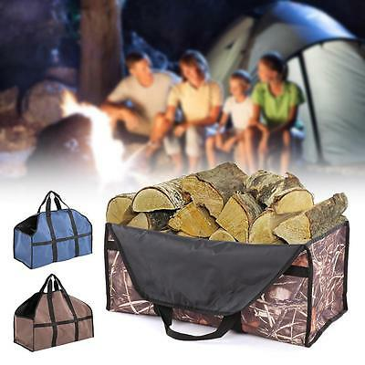 Outdoor Large Wood Bag Log Carrier Tote Charcoal Wood Firewood Holder R7T6