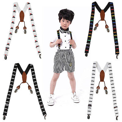 AU Children Kids Pattern Adjustable Elastic Suspenders Unisex Braces Boys Girls
