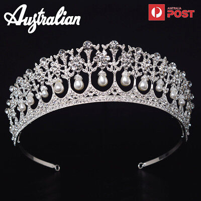 Vintage Wedding Bridal Pearl Crown Tiara Princess Headband Hair Accessories AU