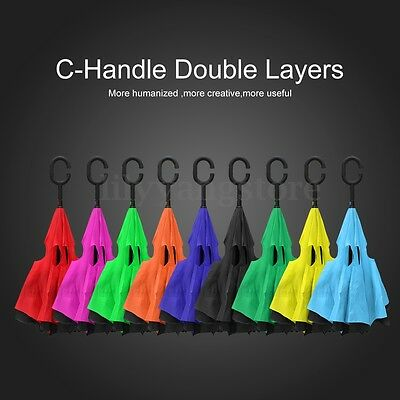 ONSALE Upside Down Reverse Umbrella C-Handle Double Layer Inside-Out 13Colors