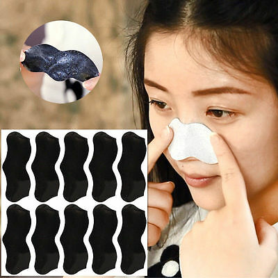 10pcs Black Mineral Nose Blackhead Cleaner Acne Pore Removal Mask Facial Beauty