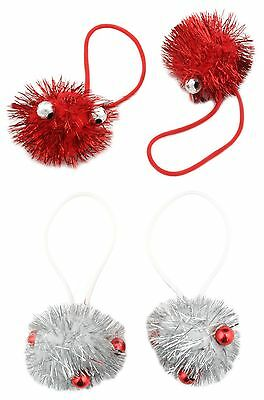 Zest Christmas Tinsel Hair Bobbles Bands with Beads