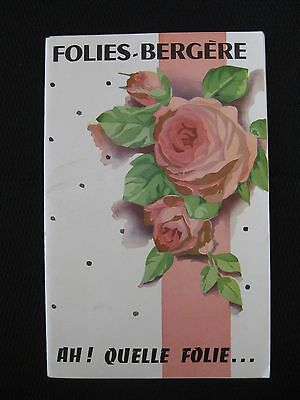 1956 Paris - FOLIES BERGERE Souvenir Program w/Advertising Insert     (6765)