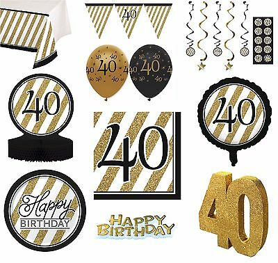 BLACK & GOLD Age 40 - Happy 40th Birthday Bday PARTY ITEMS Decorations Tableware