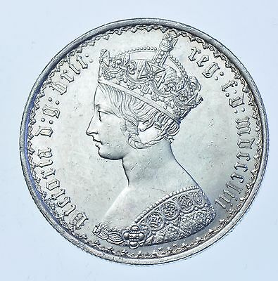 1853 Gothic Florin, No Stops After Date, British Silver Coin From Victoria Bu