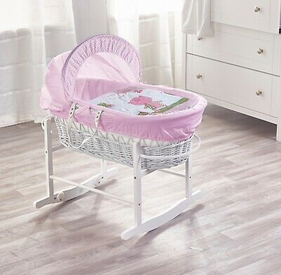 Beary Nice Pink White Wicker Moses Basket and White Rocking Stand