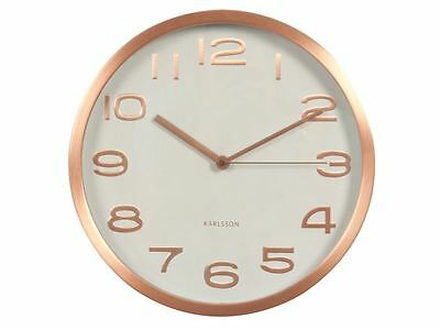 Karlsson Maxie Wall Clock White Copper Designer Modern Stylish Timepiece
