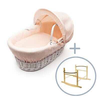 Apricot Waffle White Wicker Moses Basket on Deluxe Rocking Natural Stand
