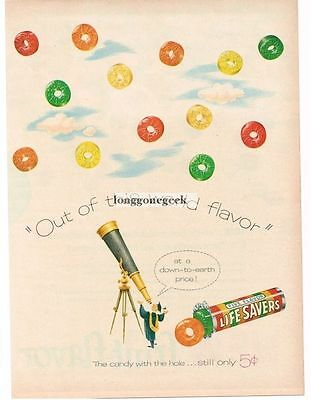 1956 Life Savers Five Flavors Astronomer Looking Through Telescope art Vtg Ad