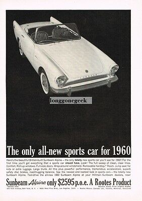 1960 SUNBEAM Alpine White Convertible Vtg Print Ad
