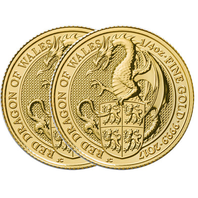 Lot of 2 - 2017 U.K. 25 Pound 1/4 oz Gold Queen's Beast The Dragon Brilliant Unc