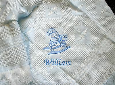 Personalised Deluxe Baby Shawl Blanket Blue Rocking Horse  Motif newborn, gift